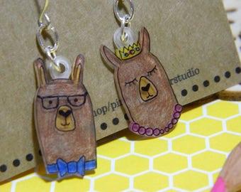 Llama Princess and Llama mismatch shrinky dink dangle earrings alpaca