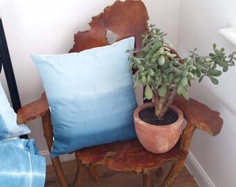 Ombre Blue Cushion Cover, Dip Dye Pillow, Boho Chic, Bohemian, Throw Pillow, Decorative Cushion