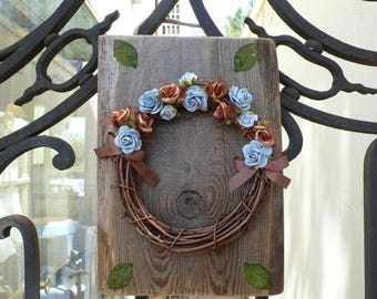 Shabby Chic Wreath On Natural Wood/Light Blue/Warm Brown Flowerswood, Wall Decor, Decorative, Gift, Rustic Traditional Country Style