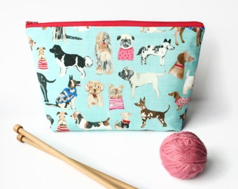 Knitting bag, Dog sock project bag, Knitting project, Large padded zipper pouch for craft, yarn storage, crochet bag.