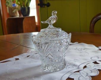 Crystal Sugar bowl with birds lidded