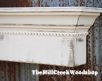 "Fireplace Mantel 84"" Distressed Wall Shelf Rope Trim Crown Molding Ledge Mantle Floating Shelves Farmhouse Barn Home Decor"