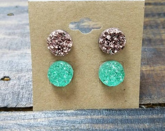 Set of 2 Faux Druzy Stud Earrings