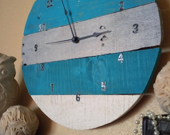 Turquoise and Gray Wooden Clock, Pallet Clock, Turquoise Wooden Clock, Teal Wooden Clock, Gray Wooden Clock, Round Time Keeper, Wood Clock