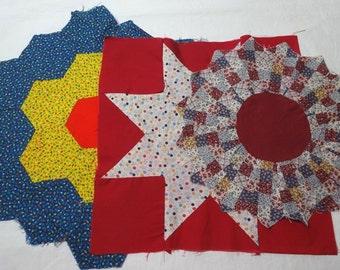Three 1980s Vintage Quilt Blocks, Flower Garden, Star, Dresden Plate, 11 to 15 Inch Blocks, Destash Vintage Fabric, Quilt Supply, Calico