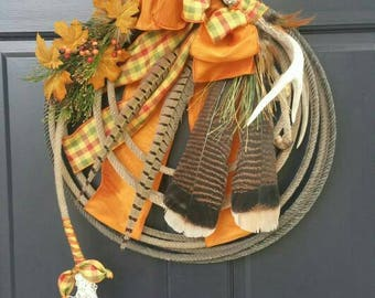 """CUSTOM ORDER WREATH Country Western  Fall Lariat Antler Rope Wreath """" Harvest Country """""""