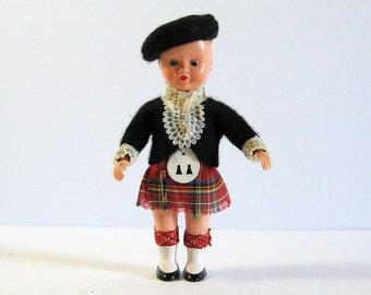 "Vintage Scottish Boy - Blinking Eyes Doll - Red Tartan Kilt with Sporran - 6"" Scottish Figurine - Traditional Costume - Scotland Folk Art"