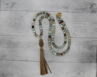 Druzy and Tassel Pendant | Long Amazonite Necklace