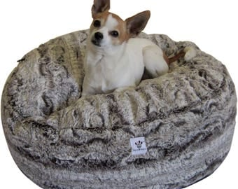 Luxury Dog Bed - Small Chocolate Swirl Faux Fur