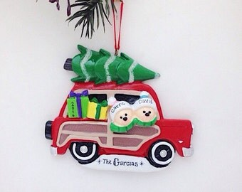 Personalized  Couple in Car with Christmas Tree / Personalized Christmas Ornament / Bringing Home the Tree Ornament / Custom Names, Message