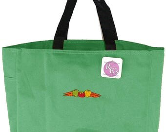 Vegetables Essential Tote + Free Name Monogram Custom Embroidered Carrot Peppers Tomato Market Bag