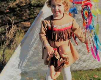 Indian Costume Dress with hanging Doll bag. From 6 months to 3 years!!