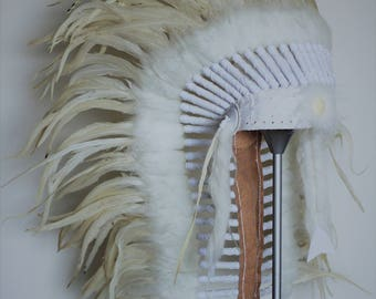 N85 -  Native American inspired Medium Cream color  Feather Headdress (36  inch long )/war bonnet