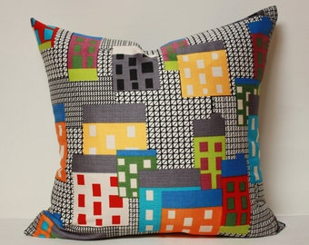 Skyline pillow cover , pop up art pillow, multi color buildings, modern pillow cover, scandinavian pillow, colorful buildings pillow