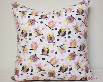 Owl pillow  - Baby Pillow- Baby shower gift, pink owl pillow cover, girls pillow cover, baby pillow cover, owl decor nursery, READY TO SHIP!