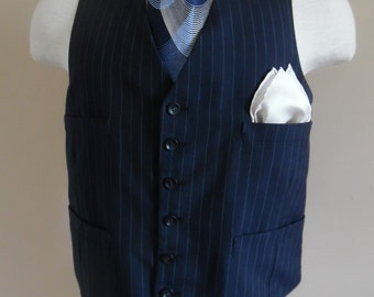 Vintage 1980s Hipster Dandy Men's Navy Blue and White Pinstriped Vest