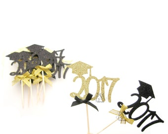 12 Glitter Graduation 2017 Cupcake Toppers - Graduation Cupcakes, Graduation Cupcake Toppers, Graduation Party Picks, 2017 Graduation Party