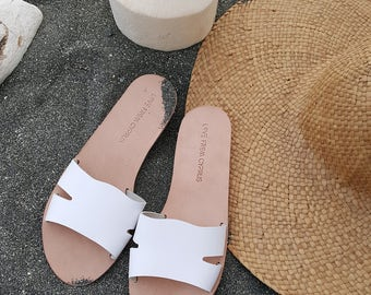Leather sandals, handcrafted Greek Sandals, Leather sandals, Women's Echo slides. MORE COLOURS