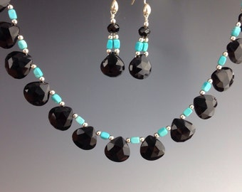 "Sleeping Beauty Turquoise necklace ~ Black Spinel necklace ~ Unique jewelry ~ black & turquoise jewelry ~Sterling ~ ""Harlequin Beauty"""