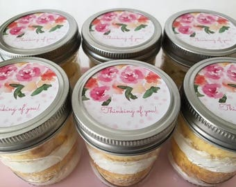 6 (8oz) Cupcake Jars-Mason Jars-Thinking of You-Get Well Soon-Sympathy-Gift-Custom-Unique-Edible-Floral-Pastels-Sweets-Feel Better-Cake