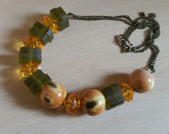 Chunky Unique Necklace in Green and Orange Autumn Fall Fashion Beaded Jewellery Gifts Jewelry