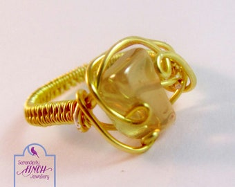 Yellow Quartz Ring, Gold Ring, Wire Ring, Size P Ring, UK