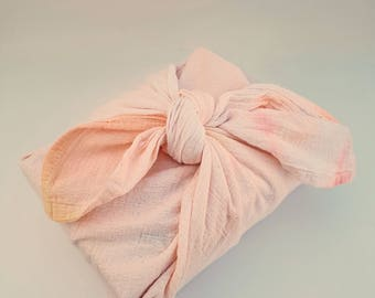 Linen Kitchen Cloth,Linen Furoshiki Cloth,Cotton Towel,Linen,Hostess Gift,Furoshiki Paper,Zero Waste,Hand Dyed,Peach,Ombre,Gift Wrap