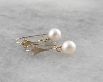 Sweet Vintage Pearl Drop Earrings 4CHMDU-P