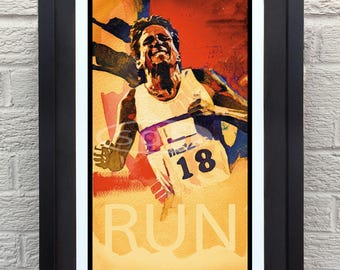 Running art gift sports poster print painting