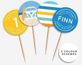 Vintage Beach Kombi Surf Cupcake Toppers (DIY Printables)