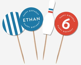 Bowling Party Cupcake Toppers (Personalised Printables)