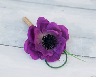 Purple Plum Boutonniere - Natural Touch Purple Violet Anemone Wedding Boutonniere  -  Groom Boutonniere