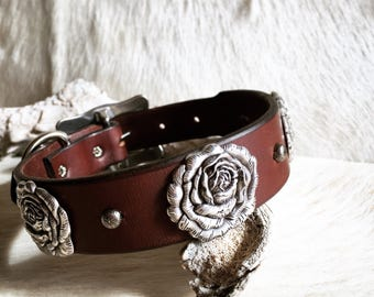 Leather dog collar with rose conchos
