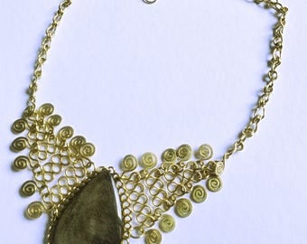 Wirework necklace with golden Obsidian