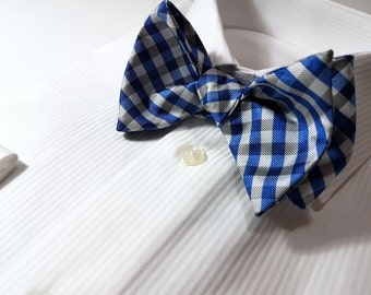 SELF TIED Bow Tie with Gingham checks in Horizon Blue Platinum Silver Grey and White