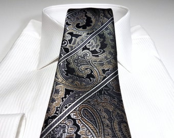 Silk Tie in Paisley Stripes with Champagne Gold Brown Platinum Charcoal Grey Black White
