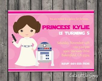 Starwars Princess Leia Birthday Invitation Digital Download
