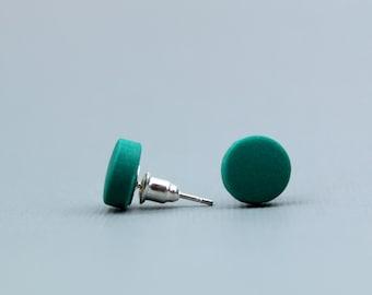 Emerald green studs, Forest green studs, matte green studs, forest green, minimalist earrings, dark green earrings, Emerald green earrings