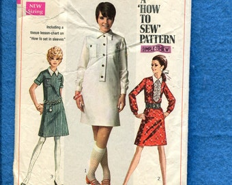 1960's Simplicity 7822 Retro Shirt Dress with Pointed Collar Size 14