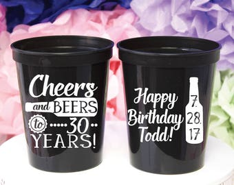 Cheers & Beers, 30th Birthday, Dirty 30, 30th Party Favor, 30th Party Cups, Stadium Cups, Personalized Cups, Plastic Cups, Bar Crawl
