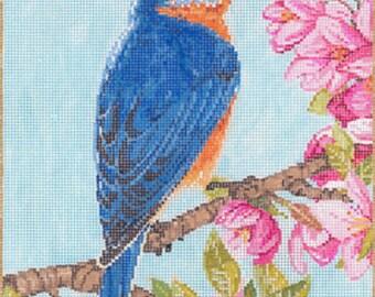 Needlepoint Handpainted Sandra Gilmore BLUEBIRD 6.75 x 9 -Free US Shipping!!!