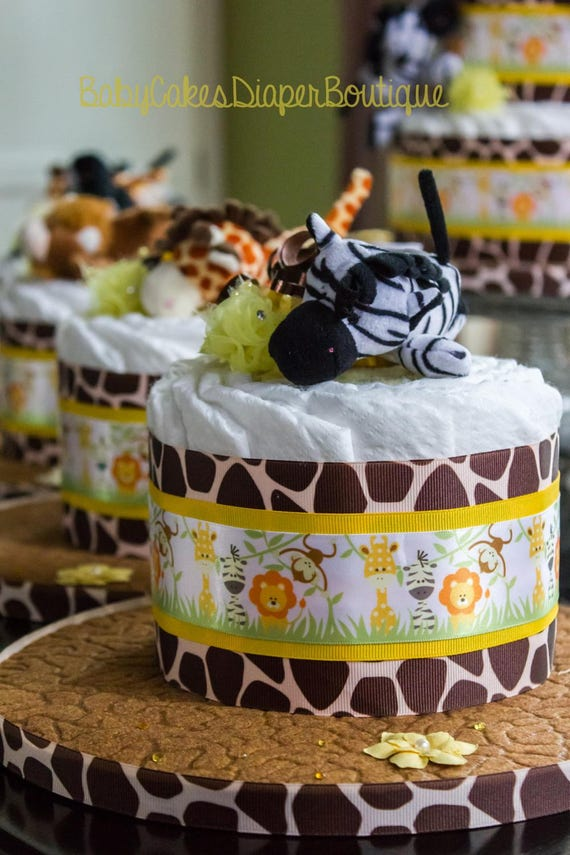 Large Safari Diaper Cake and Centerpiece Set | Jungle Diaper Cake | Safari Baby Shower | Jungle Baby Shower | Diaper Cake Centerpiece Set