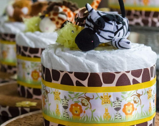 Large Safari Diaper Cake and Centerpiece Set   Jungle Diaper Cake   Safari Baby Shower   Jungle Baby Shower   Diaper Cake Centerpiece Set
