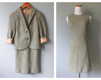 Vintage Women's Suit Wool Plaid Dress and Jacket Tailored Teal Orange Fully Lined Nylon 1960's Secretary Wiggle Dress Size XXS XS 00 Petite