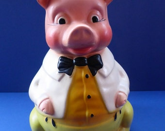 Quirky Vintage 1920s ELLGREAVE Pottery Cartoon Piggy Bank with Original Rubber Stopper