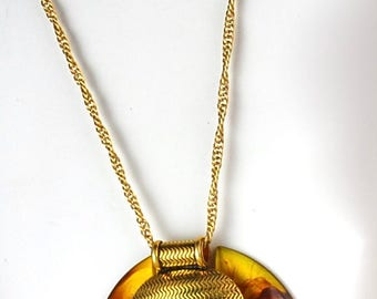 Vintage Lanvin-Like Necklace Repurposed Recycled Amber Colored Marble Resin
