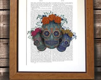 Sugar Skull Wall Art - Trio of Skulls - Sugar skull art print sugar skull decor mexican day of the dead gothic wall art skull poster