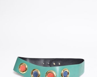 Vintage Green Leather Belt with Colored Studs