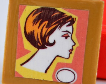 tile magnet with retro lady profile brown pink and yellow background