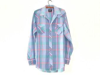 Vintage Cowboy Shirt - Plaid Western Shirt - Vintage Wrangler Country Western Long Sleeve Shirt